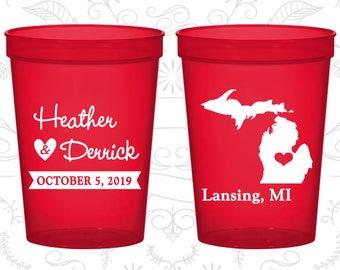 Michigan Wedding Cups, Michigan Wedding, Cheap Beer Cups, Destination Wedding, State Cups, Wedding Cups (121)