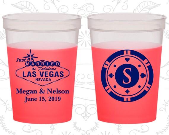 Las Vegas Wedding Favor Color Changing Cups Just Married Monogram