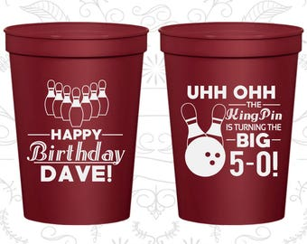 50th Birthday Cups, Cheap Birthday Stadium Cups, The Big 5-OH, Bowling Birthday Cups, Birthday Cups (20071)