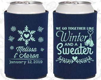 We Go to Together Like Winter and a Sweater, Wedding Party Gifts, Winter Wedding Gift, Snowflake Wedding, Christmas Wedding Gift (499)