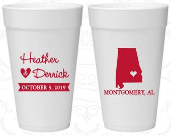 Alabama Wedding, Styrofoam Cups, Destination Wedding, State Wedding, Foam Cups (100)
