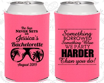 Something borrowed, something blue, we party harder than you do, Personalized Bachelorette Party Favors, Beach Bachelorette Ideas (60132)