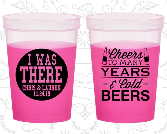 Cheers to many years and cold beers, Custom Mood Stadium Cups, I was there, Cheers and Beers, Cheers Wedding, Magenta Mood Cups (572)