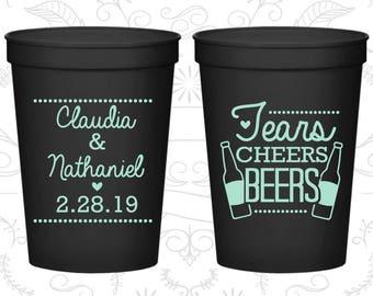 Tears, Cheers, Beers, Customized Beer Cups, Southern Wedding, Beer Wedding Cups, Wedding Cups (403)