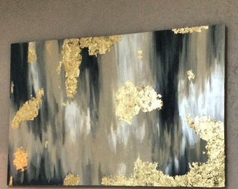 Painted canvas with gold leaf