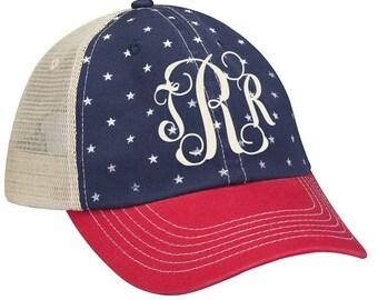 90e03dfbc2502d Monogrammed Stars Patriotic Trucker Hat   Mesh Baseball Hat   Baseball Cap    Independence Day   July 4th   Labor Day   Memorial Day