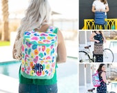 Personalized Monogrammed Preppy Insulated Backpack Cooler Bag, Lunch Cooler Tote, Insulated Lunch Bag, Ladies Work Lunch Bag, Beach Cooler