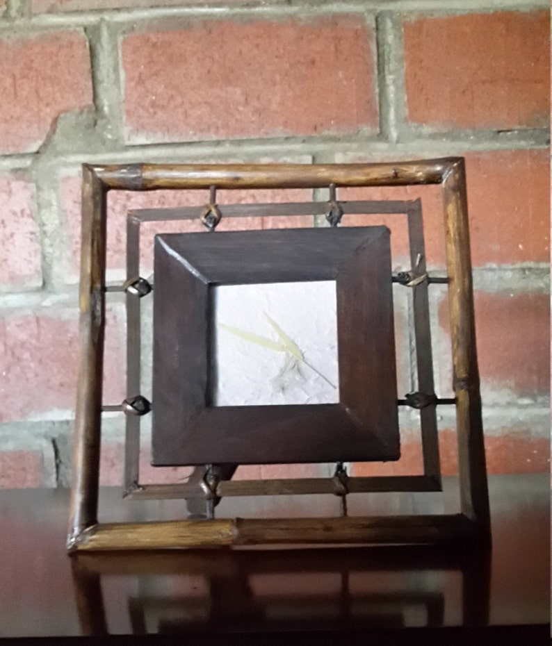 Bamboo and wooden frame wooden frame square