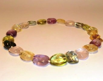 Multicolor Quartz necklace.Natural gemstone necklace.Hiddenite neck.Rose Quartz neck.Citrin neck.Amethyst neck.Italian Jewelry.Made in Italy
