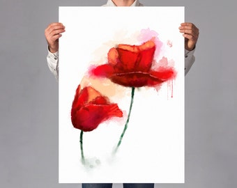 LARGE wall ART, Poppy WATERCOLOR print, Red Poppies Painting Art Print, red Flower art print, hot wall art decor, aquarelle art print