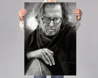 Eric Clapton Poster | Large Clapton Drawing Wall Art | Large Musician Print | Black White Print of Eric Clapton