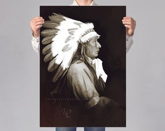 Native American LARGE wall art PRINT of a digital painting, sephia Indian illustration, chief print, native american poster