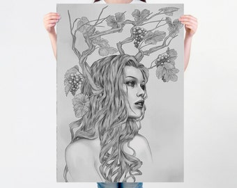 LARGE wall ART nouveau print, black and white drawing, fall drawing, grey surreal portrait, greap harvesting, artistic autumn art poster