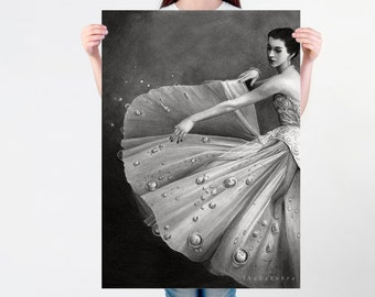 LARGE wall ART, Vintage art PRINT of graphite pencil drawing, dancing girl poster, surreal vintage girl print, flower skirt fine print