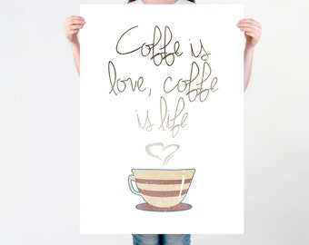 Coffee Saying Print | Coffeeholic Art Print for Coffee Addicts | Motivational Coffee Quote Poster | Graphic Saying Art Print