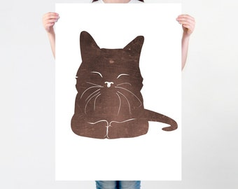 Minimalist Happy Cat Print for Kids Room in Brown Colors