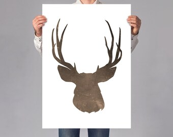 LARGE wall ART, Deer Stag art print, wild animal illustration, stag gift for hunters, minimal deer on thick white paper, hunter cabin decor