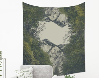 Mountain Tapestry on Lightweight Fabric for Bohemian Homes in Four Sizes