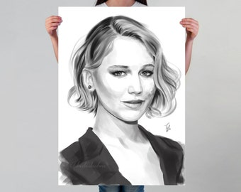 Jennifer Lawrence Art Print | Fan Art of Jennifer Lawrence | Lawrence Black and White Poster | Lawrence Art Poster