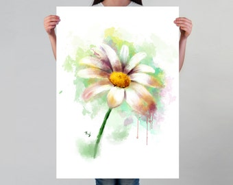 Daisy Print Flower Wall Art Watercolor Flower Wall Decoration for Her