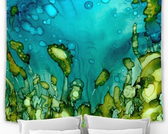 Ocean Decor Wall Hanging Tapestry Underwater Wall Decor Lightweight Fabric by Pilipart