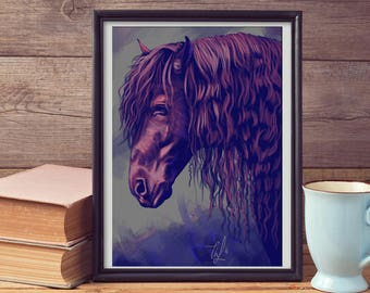 LARGE wall ART, Horse Art Print, Inspired Horse Painting Poster, Gift for Riders, Fine Large Horse Decor, Strong Stallion Portrait