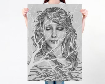 Art Nouveau Print | Surreal Wall Art | Inspired Woman Portrait Winter Wall Decoration | Surreal Art print