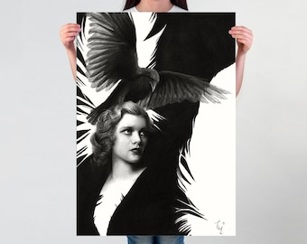 LARGE wall ART, Lady Raven art PRINT of a pencil drawing, surreal home decor, surrealism poster, black and white drawn raven poster