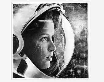 Astronaut in Space Black and White Print of a Brave Woman by Thubakabra
