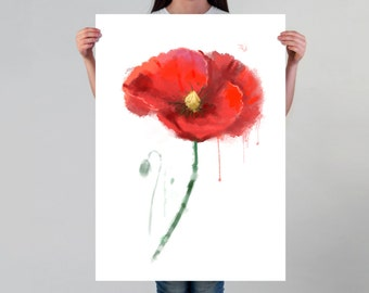 Watercolor Poppy Art Poster Floral Wall Decor for Her