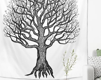 Tree of Life Tapestry Black and White Spiritual Wall Hanging
