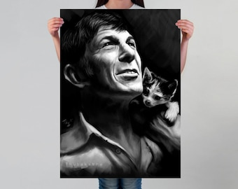 Leonard Nimoy Print or Poster | Large Black and White Nimoy Fan Art Poster | Large Nimoy Art Print