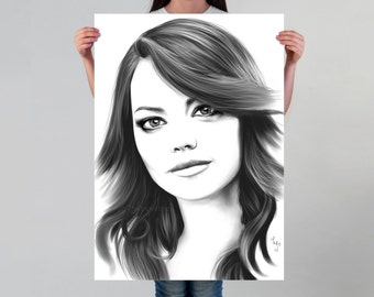 Emma Stone Print for Fans Minimalist Black And White Wall Art