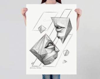 LARGE wall ART, Surrealist art print, pencil drawing, surreal shapes, Avant Garde on thick paper, geometric shapes, artistic poster