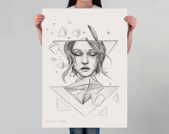LARGE wall ART, Surrealist art print, pencil drawing, surreal girl portrait, Avant Garde on thick paper, geometric shapes, artistic poster