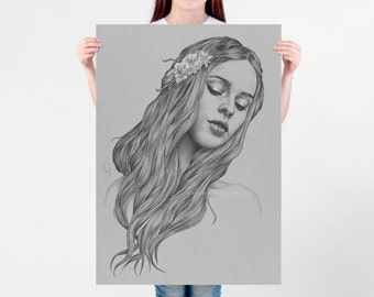 LARGE wall ART, Art nouveau print of a digital illustration, black and white drawing, beautiful woman portrait on thick white paper