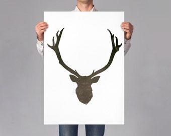 LARGE wall ART, minimalist deer, wall art decor, wild animal illustration, minimal deer portrait on thick white paper, hunter cabin decor