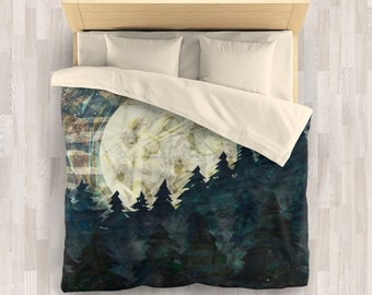 Moon Child Bedding Set | Night Mountain Comforter or Duvet Cover Set | Rustic and Grunge Woodland Duvet Cover | Abstract Mountain Comforter