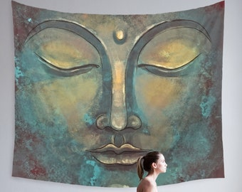 Watercolor Buddha Wall Hanging for Meditation Made of 100% Lightweight Polyester