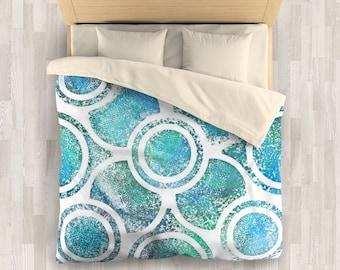 Beach Blue Bedding Set | Minimalist Blue Comforter or Duvet Cover | Bright Minimal Design Bedding Set | Rustic Linen Bedding