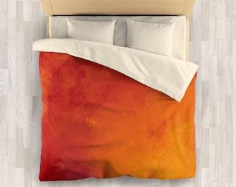 Orange Bedding Set | Minimalist Comforter or Duvet Cover | Minimal Design Bedding Set | Orange Red Linen Bedding