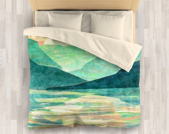 Green Mountain Bedding Set | Emerald Abstract Comforter or Duvet Cover Set | japan Mountain Duvet Cover | Abstract Mountain Comforter