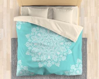 Modern Mandala Duvet Cover | Turquoise Linen Bedding Bed Comforter | Adult Bedding Set | Hippie Bedding Bedroom Decoration