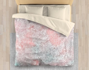 Pink Linen Bedding | Pink Bohemian Bedding for Girls | Pink Girls Bedding Set | Pink Mandala Bedding Set or Comforter