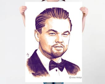 Leonardo DiCaprio Print | DiCaprio Painting Wall Decor | DiCaprio Artwork Poster Art | Large Wall Decor