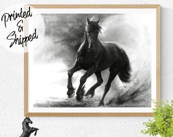 Horse Print Black and White Pencil Art of a Horse Poster for Horse Lovers