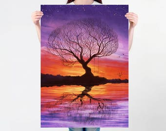 Tree silhouette Large wall art PRINT of a digital painting, relaxing illustration, colorful sunset landscape, wall art, decorative poster