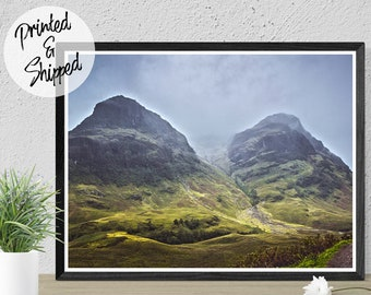 Sisters of Glencoe Mountain Wall Art Photography Print of Misty Mountains