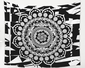 Black And White Mandala Tapestry Modern and Trippy Wall Hanging
