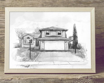 House Portrait Watercolor Art Custom House Sketch from Photo in Black and White